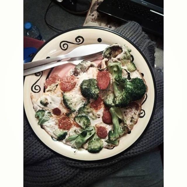egg white chorizo and broccoli omelette