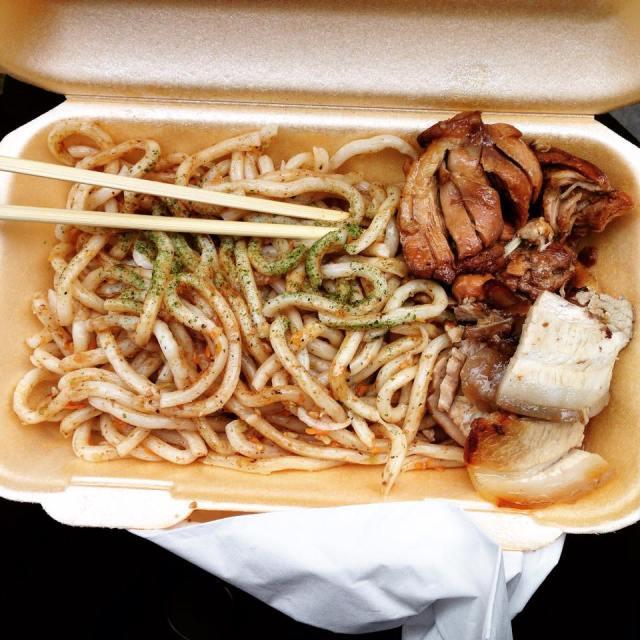 Udon noodles with teriyaki chicken and pork belly. Photographer: Adrianna Anastasiades